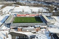 Stadion FC Emmen in de Sneeuw 2021